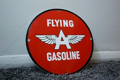 Vintage Flying A Porcelain Sign Gas Metal Station Pump Plate Ad Gasoline Oil