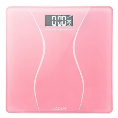 180KG Digital LCD Body Weight Bathroom Scale Glass Pink 400lb with 2 x Battery