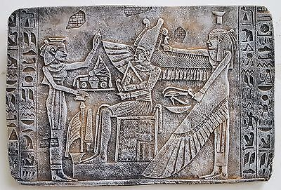 Egyptian Wall Decor God Osiris, Nephthys & priest Antique Reproduction