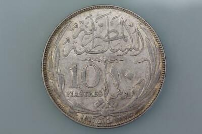 Egypt  10 Piastres Coin 1917H Km 320 Extremely Fine