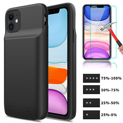 For Apple iPhone 11 Pro Max Power Bank Charging Battery Case +Screen Protector