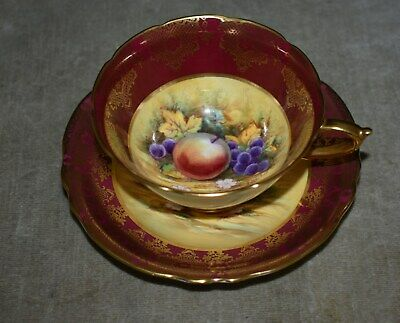 Vintage Paragon English Fine Bone China Orchard Teacup & Saucer Signed J. Waters