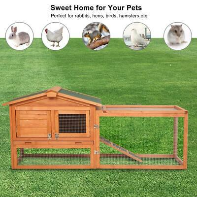 "New 61"" Wooden Rabbit House Hutch Chicken Coop Cage w/ Tray Run Animal"