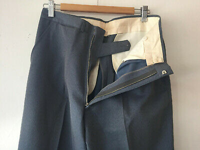 ORIGINAL GREY VINTAGE DEADSTOCK 1940S MEN'S WOOL BLEND PANTS METAL ZIP W32 x 30
