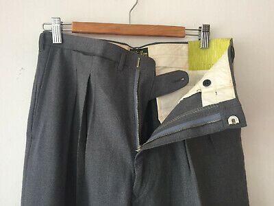 ORIGINAL VINTAGE DEADSTOCK 1940S MEN'S WORSTED WOOL PANTS METAL ZIP  W32 x 30