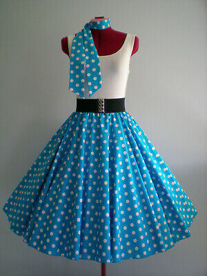 "ROCK N ROLL/ROCKABILLY ""Spots"" SKIRT & SCARF M-L Aqua/White Spots"