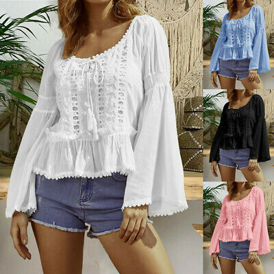 Plus Size Women O-Neck Hollow Out Lace Patchwork Long Sleeve Blouse Shirt Top SS