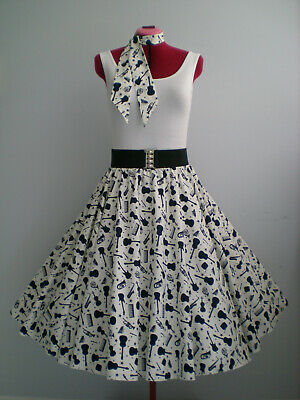 "ROCK N ROLL/ROCKABILLY ""Musical Instruments"" SKIRT-SCARF L-XL Ivory/Navy Blue."