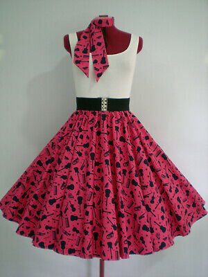 "ROCK N ROLL/ROCKABILLY ""Musical Instruments"" SKIRT-SCARF M-L Dark Pink/Navy."