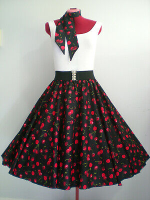 "ROCK N ROLL/ROCKABILLY ""Cherries"" SKIRT & SCARF S-M Black/Red"