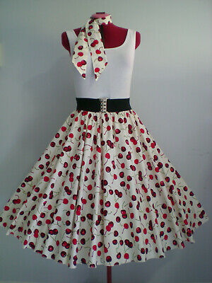"ROCK N ROLL/ROCKABILLY ""Cherries"" SKIRT & SCARF M-L Ivory/Red"
