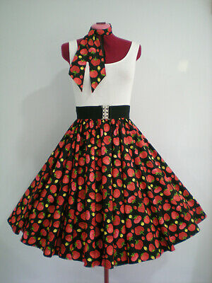 "ROCK N ROLL/ROCKABILLY ""Strawberries"" SKIRT & SCARF S-M Black/Red"