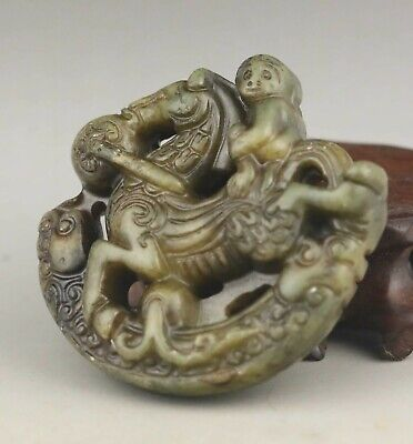 Chinese old natural jade hand-carved statue horse and monkey pendant 2.3 inch