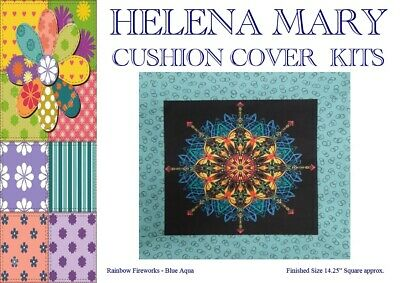 "Patchwork Kit Complete Cushion Cover Kit - Rainbow Firework Blue Aqua - 14.25""Sq"