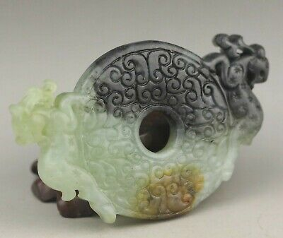 Chinese old natural jade hand-carved statue double deer pendant 3.2 inch