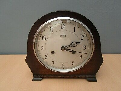 Vintage Smiths Enfield Wooden Mantle Clock - No Key