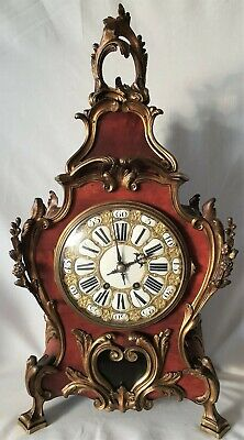 Antique Boulle Clock Red Shell c1855 8 Day Movemnent And Pendulum Stikes Gong