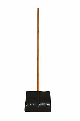 Charles Bentley Snow Shovel Scoop in Black Made of Polypropylene - Wooden Handle