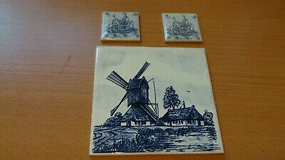 Delft Tile Mettlach Germany Saar Plus Two Small Ship Mini Tiles