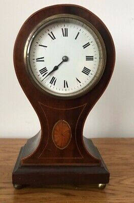 Antique French Japy Freres Mahogany Inlaid Ballon Mantle Clock