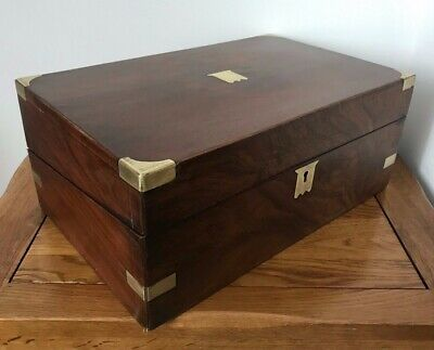 Antique 19Th C Brass Bound Campaign Writing Slope Box With Fitted Interior