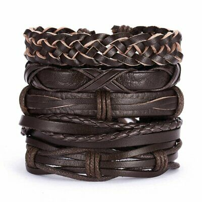 5pcs Fashion Mens Punk Leather Cross Wrap Braided Wristband Cuff Bangle Bracelet