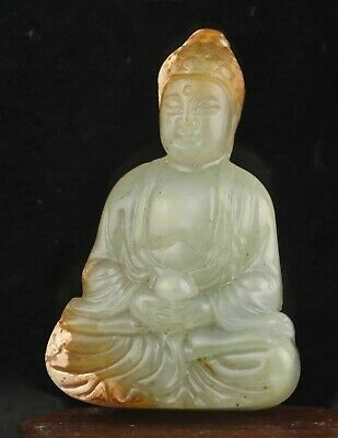 Chinese old natural jade hand-carved statue buddha pendant 2.4 inch