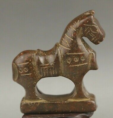 Chinese old natural jade hand-carved statue horse 3 inch