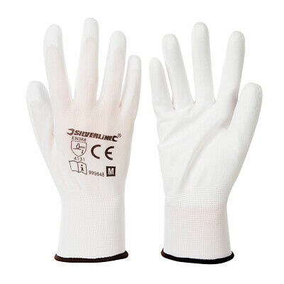 Medium White Gloves - 13-Gauge Knitted & Poly-Coated Palms & Fingers - Open Back