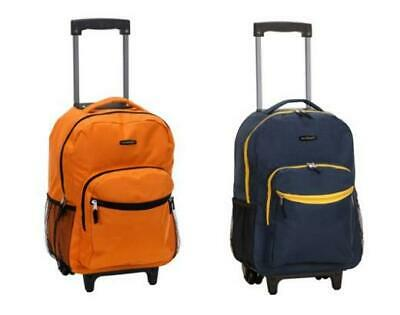 2 Unused Rockland 17 Inch Rolling Backpack Carry On Bag Orange And Navy
