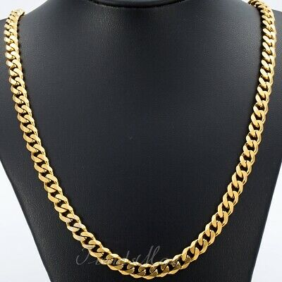 7mm Mens Boys Chain Gold Tone Curb Link Stainless Steel Necklace 18-36inch Gift