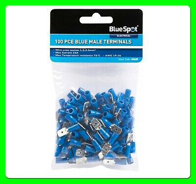 100 x Blue Male Spade Connectors Splice Terminals Crimp Electrical [BS40608]