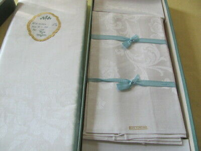 """Irish linen table cloth napkins never used 76 x 124"""" rose design banquet size"""