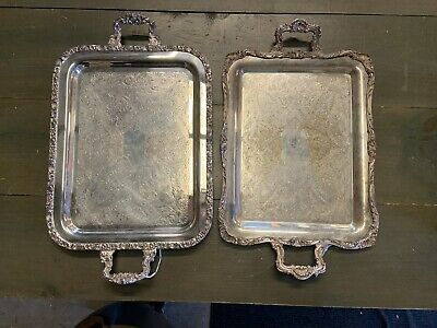 LOT OF 2 Silver Plated Ornate Trays, 25 Inches Long/ 15 Inches Wide. BEAUTIFUL!