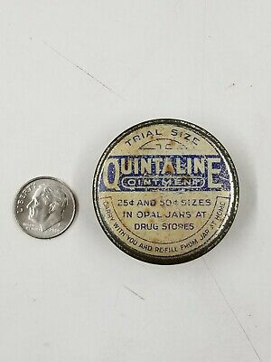 Vintage Quintaline Ointment Blue Miniature Trial Size Medicine Tin Buffalo Ny