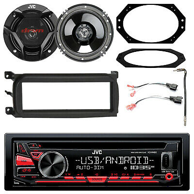 """JVC In-Dash CD Stereo w/ Kit, 2x 6.5"""" Speakers w/ Plates + Connector, Adapter"""