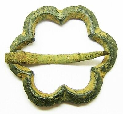 Nice intact Medieval decorated ring brooch 13th - 14th century AD