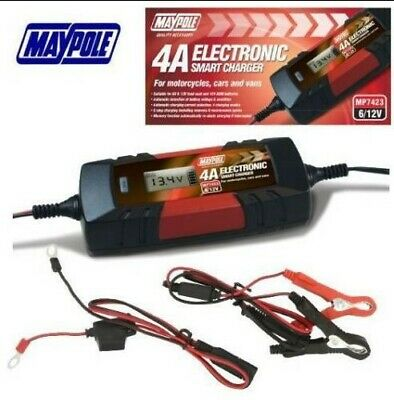 4A 6/12V ELECTRONIC SMART CHARGER Car Bike AGM Lead Acid MP7423 Maypole