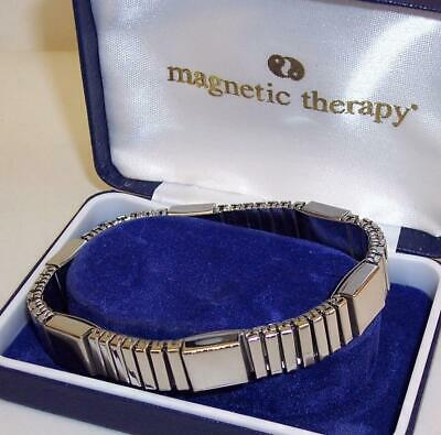 UNUSED Expanding MAGNETIC THERAPY Bracelet SILVER Tone Metal BOXED