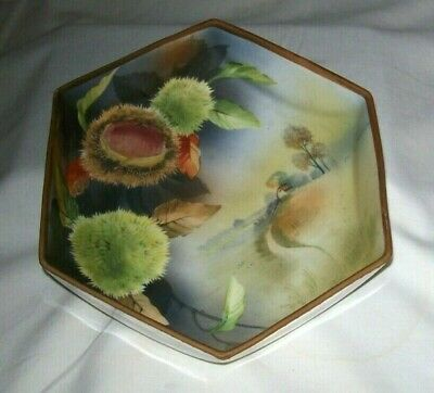 Stunning Hand Painted 6 Sided Scenic Nippon Bowl - Signed-Excellent
