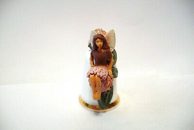 Thimble Sterling Classic Handpainted  Pewter Topper Of A Clover Fairy