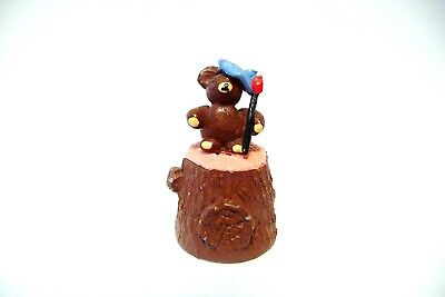 Thimble Pewter Mcmillan & Wife Handpainted Max Teddy Bear Artist W/Brush Topper