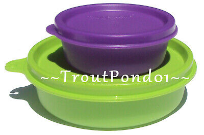 New TUPPERWARE Small Bowls Set 2 Green Little Wonder Purple Half Mini Snack Cup