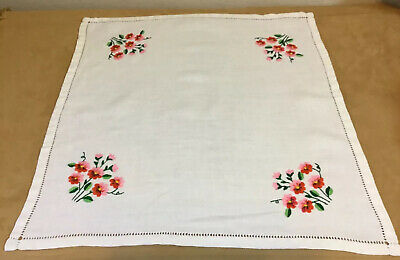 Vintage Small Tablecloth, Linen, Ivory With Embroidered Flowers, Leaves, Pink