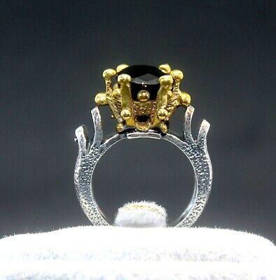 Medieval Style Silver Ring with Black Onyx Stone & 22K Gold Detail - Size 8.5