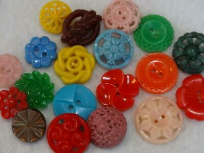 COLORFUL VINTAGE FANCY & FLOWER BUTTONS Colt Pierced  Pink Green Blue Yellow Red