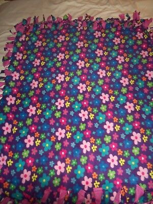 Blanket~ New~Colorful Hippie Rainbow  Flower Power Hand Tied Double Sided Fleece