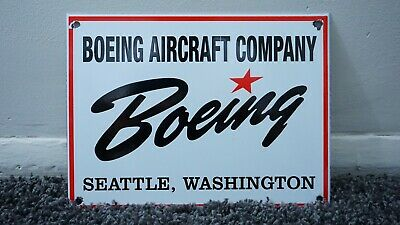 Vintage Boeing Aircraft Company Porcelain Sign Gas Metal Aviation Oil Gasoline