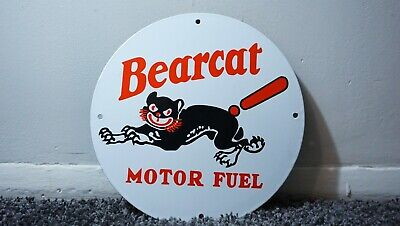Vintage Bearcat Gasoline Porcelain Sign Gas Oil Metal Service Station Pump Plate