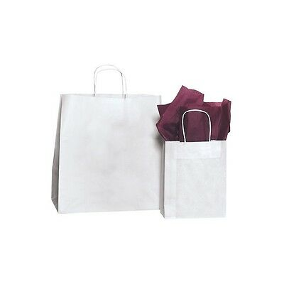 "Paper Shopping Bags, 8"" x 4 1/2"" x 10 1/4"", White, 250/Case"